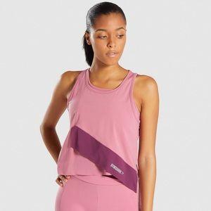 NWT Gymshark XS asymmetric top dusky pink/ ruby